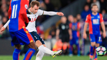 Letting fly: Christian Eriksen rifles home a powerful drive to keep Tottenham in the title race