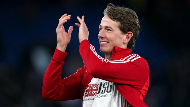 Sander Berge was serenaded by the Sheffield United fans at the full time whistle (Tess Derry/PA)