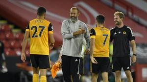 Nuno congratulates his Wolves players (Peter Powell/PA)