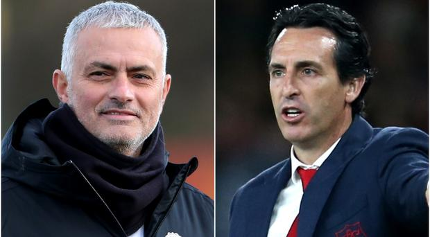 Jose Mourinho, left, has been linked with replacing under-fire Arsenal boss Unai Emery, right (Richard Sellers/Steven Paston/PA)