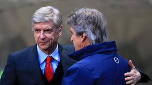 Arsene Wenger, pictured left, believes Manuel Pellegrini, pictured right, can cope with speculation over his future