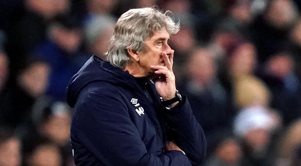 Manuel Pellegrini on the touchline for the last time as West Ham manager in the 2-1 defeat to Leicester (John Walton/PA)