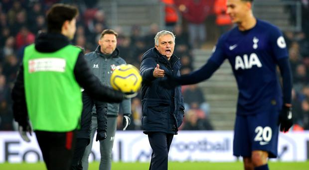Mourinho (centre) became angry at St Mary's (Mark Kerton/PA)
