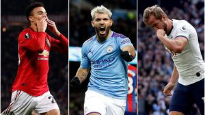 Mason Greenwood, left, has started fast while Sergio Aguero, centre, and Harry Kane are among the leading scorers at their respective ages (Martin Rickett/Yui Mok/PA)