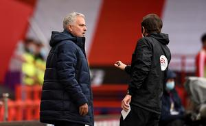Tottenham manager Jose Mourinho reacts after VAR rules out a gal for his side at Sheffield United (Oli Scarff/NMC Pool/PA)
