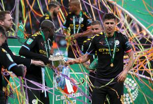 Rodri (right) was in the Manchester City side that won the Carabao Cup in March (Mike Egerton/PA)