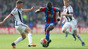 Yannick Bolasie, centre, opened the scoring for Crystal Palace on Saturday
