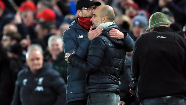 Jurgen Klopp and Liverpool have pulled well clear of Guardiola's City (Peter Byrne/PA)