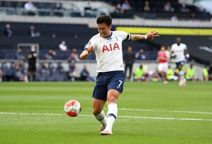 Son Heung-min equalises for Tottenham during their 2-1 win over Arsenal at the Tottenham Hotspur Stadium.