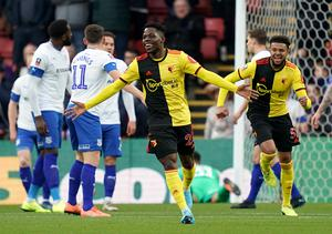 Tom Dele-Bashiru only made three appearances for Watford in the 2019-20 season after joining from Manchester City last summer (John Walton/PA)