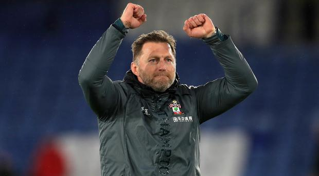 Southampton manager Ralph Hasenhuttl was jubilant after his side's 2-1 win at Leicester. (Mike Egerton/PA)