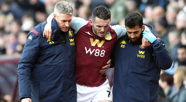 Aston Villa's John McGinn (centre) suffered an ankle fracture during the defeat to Southampton (Nick Potts/PA).