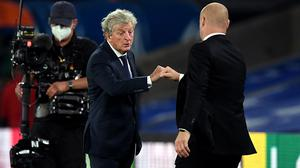 Crystal Palace manager Roy Hodgson, left, is happy to face Leicester at a neutral venue (Daniel Leal-Olivas/NMC Pool)