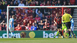 Manchester City's Kevin De Bruyne scores his side's second goal at Bournemouth