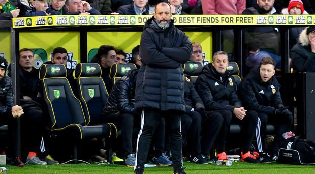 Wolves manager Nuno Espirito Santo was happy with the fight his side showed (Joe Giddens/PA)