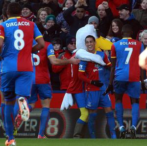 Tom Ince celebrates after scoring Crystal Palace's opening goal