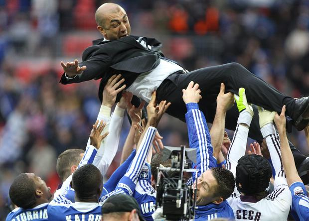 Roberto Di Matteo is saluted by his Chelsea players after FA Cup victory (Nick Potts/PA)