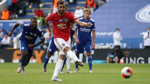 Bruno Fernandes fires Man Utd ahead from the penalty spot in the 2-0 win at Leicester.