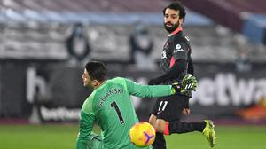 Mohamed Salah scored twice at West Ham (Justin Setterfield/PA)
