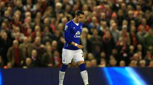 Ramiro Funes Mori was sent off during Everton's 4-0 defeat by Liverpool last season