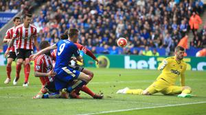 Leicester's Jamie Vardy, in blue, was unable to get on the scoresheet against Southampton