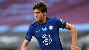 Frank Lampard has defended Marcos Alonso, pictured, after criticism from Gary Neville (Michael Regan/NMC Pool)