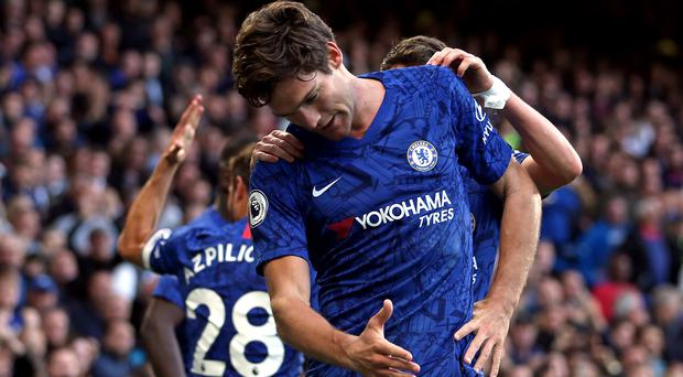 Marcos Alonso struck the winner for Chelsea (Steven Paston/PA)