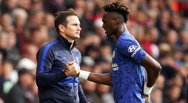 """Chelsea boss Frank Lampard, left, has backed Tammy Abraham to score """"more and more"""" goals against 'big six' sides (John Walton/PA)"""