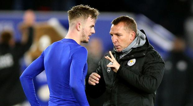James Maddison (left) has made a big impression on Leicester manager Brendan Rodgers (Nigel French/PA)
