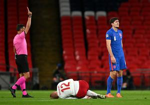 Maguire was sent off at Wembley (Daniel Leal Olivas/PA)