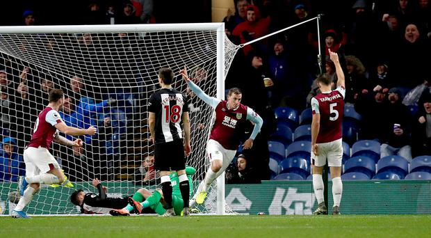 Chris Wood, second right, celebrates scoring Burnley's winner against Newcastle at Turf Moor. (Martin Rickett/PA)