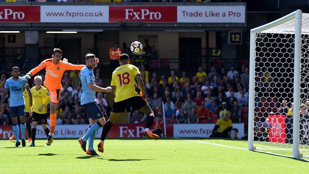 Andre Gray scored Watford's second goal in the 2-1 win over Newcastle