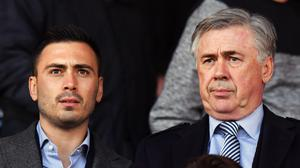 Everton assistant manager David Ancelotti (left) and is comfortable challenging dad Carlo's opinion (Anthony Devlin/PA)