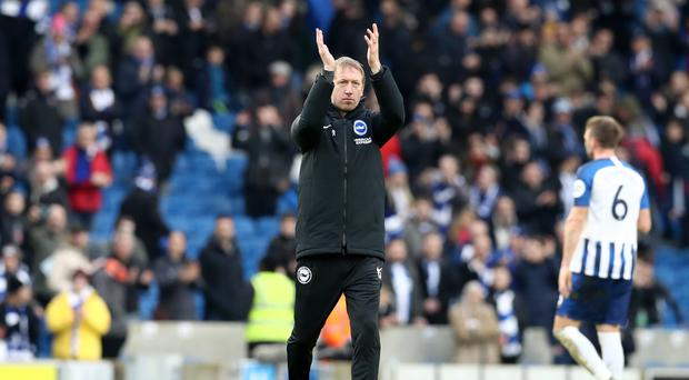 Brighton manager Graham Potter was delighted with his side after their 2-0 win over Bournemouth (Gareth Fuller/PA)