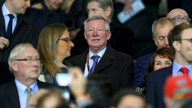 Sir Alex Ferguson in the stands at Old Trafford (Nigel French/PA)