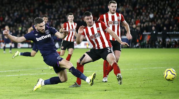 Robert Snodgrass saw his last-gasp effort ruled out by VAR (Martin Rickett/PA).