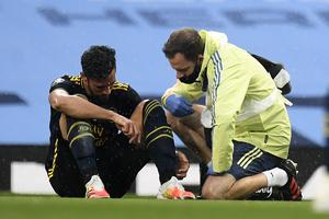 Arsenal defender Pablo Mari was injured at Manchester City on June 17 (Peter Powell/NMC Pool)