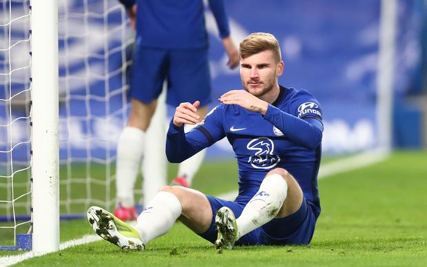 Chelsea's Timo Werner sits dejected after missing a chance (Clive Rose/PA)