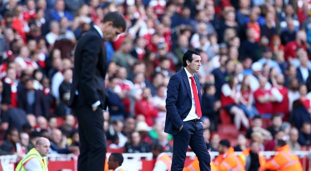 Unai Emery (right) spoke to Watford manager Javi Gracia when he was in the running for the Arsenal job (Yui Mok/PA)
