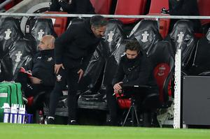 Ralph Hasenhuttl was absent from the Southampton bench as he self-isolated (Peter Cziborra/PA)