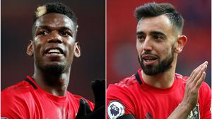 Fernandes (right) has defended Pogba (left) (Martin Rickett/PA)