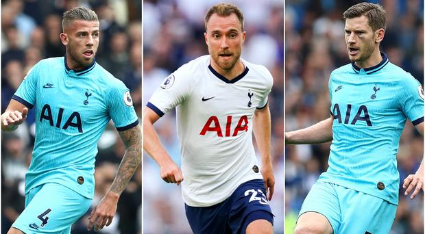 Toby Alderweireld, Christian Eriksen and Jan Vertonghen, l-r, are out of contract in the summer (Gareth Fuller/John Walton/PA)
