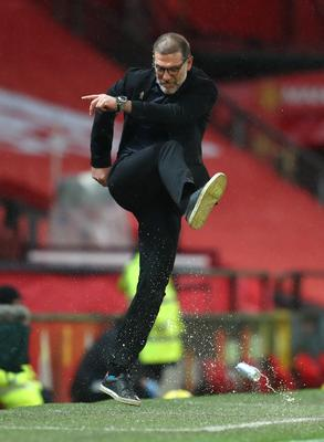 West Bromwich Albion manager Slaven Bilic kicks a can in frustration at Old Trafford (Catherine Ivill/PA)