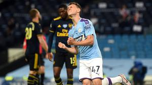 Manchester City's Phil Foden celebrates scoring his side's third goal of the game (Peter Powell/NMC Pool)
