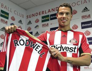 Hot Rod: Sunderland's new signing Jack Rodwell sports the club's colours for the first time