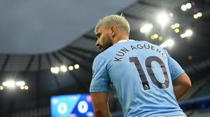 Sergio Aguero was criticised for touching assistant referee Sian Massey-Ellis (Michael Regan/PA)