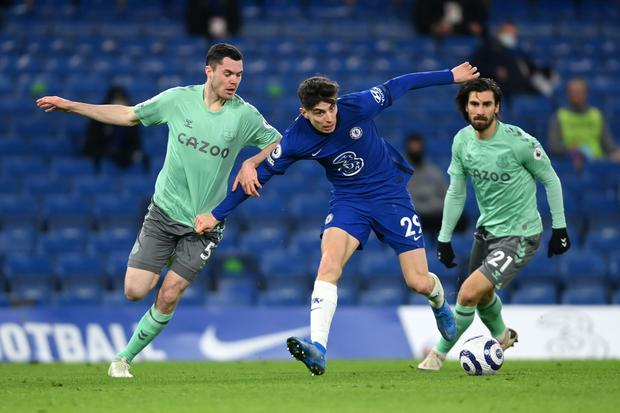 Kai Havertz, centre. was a handful for Everton (Mike Hewitt/PA)