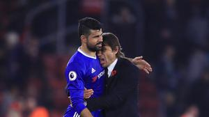The future of Chelsea's Diego Costa (left) will be addressed at the end of the season, says boss Antonio Conte (right)