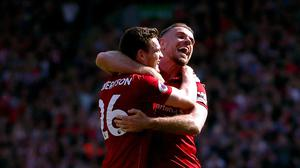 Andrew Robertson and Jordan Henderson both played under Steve Bruce (PA)