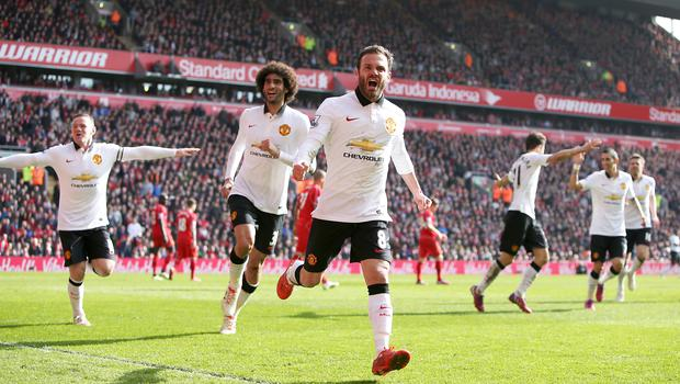 Juan Mata fired Manchester United to victory at Anfield in 2015 (Peter Byrne/PA)